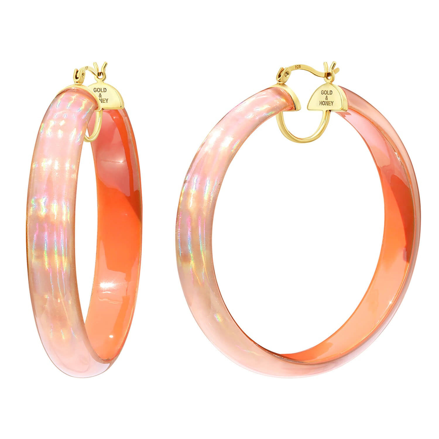 Large Rave Lucite Hoops in Orange