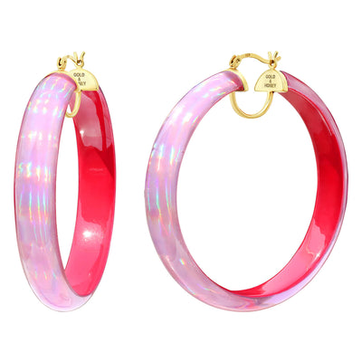 Rave Lucite Hoops in Pink
