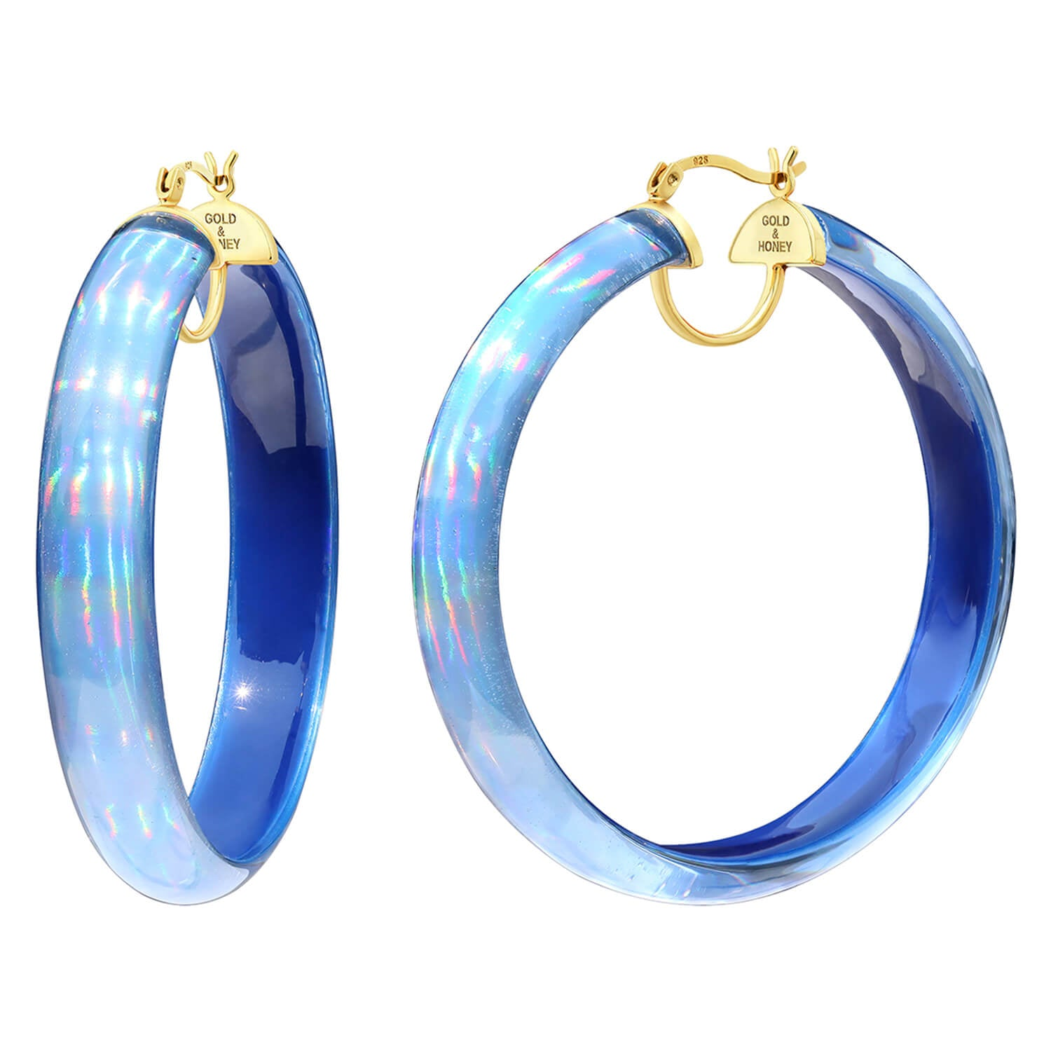 Rave Lucite Hoops in Blue