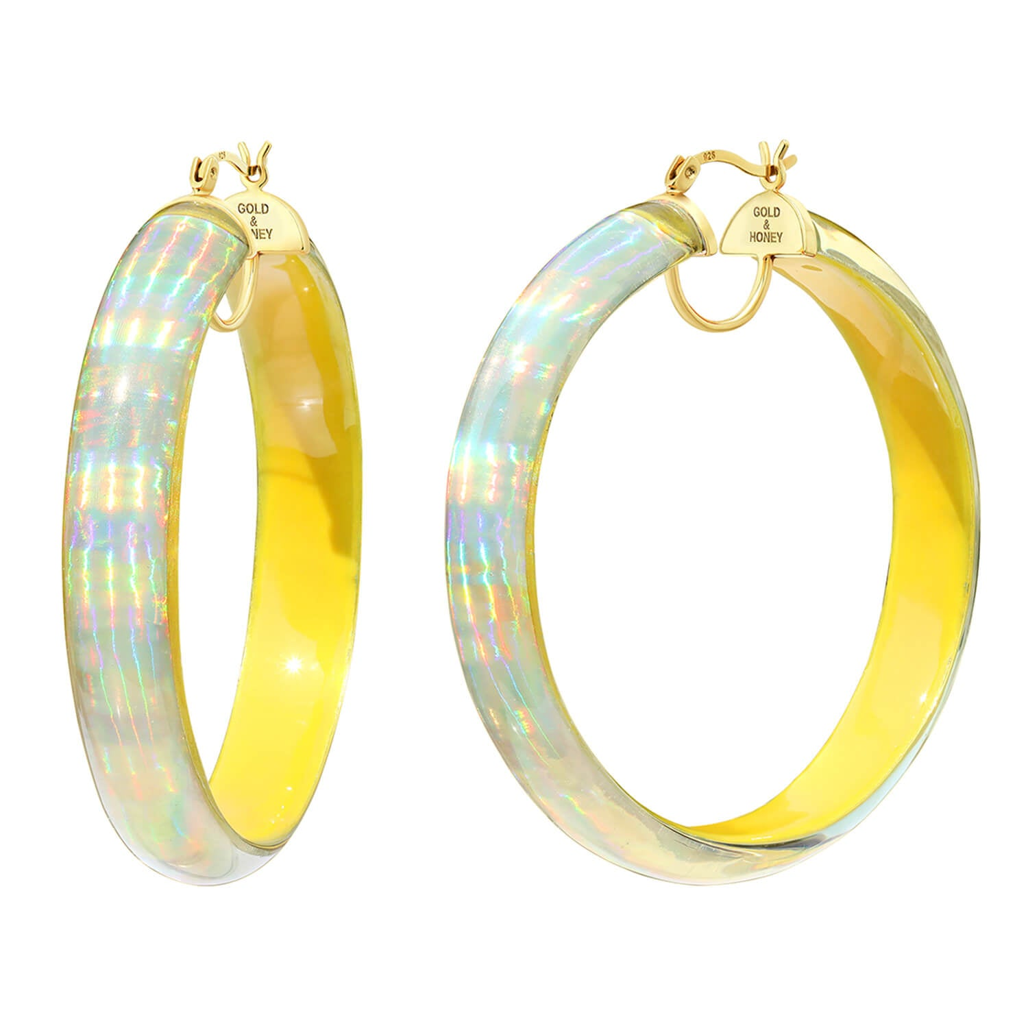 Large Rave Lucite Hoops in Yellow