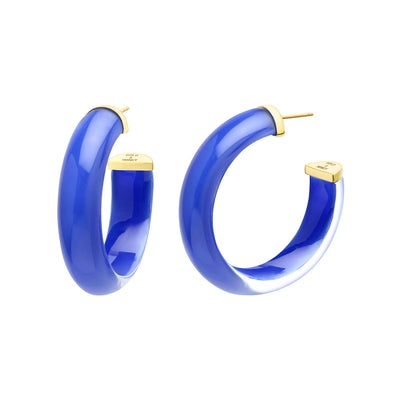 Small Illusion Lucite Hoops in ROYAL BLUE