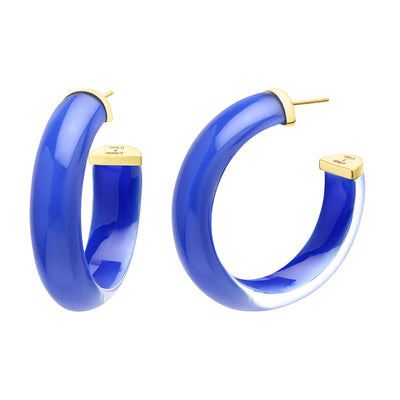 Medium Illusion Lucite Hoops in - Royal Blue