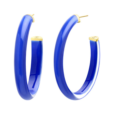 60mm Oval Illusion Lucite Hoops - ROYAL BLUE