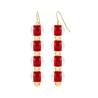 4 Drop Mini Bead Lucite Earrings - CARNELIAN