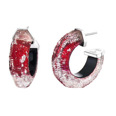 Red and Silver Flake Lucite Hoops