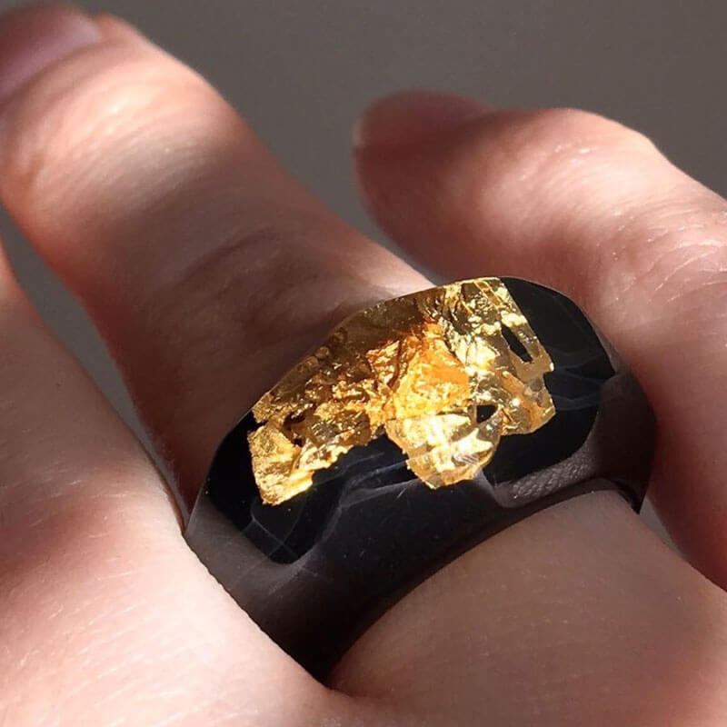 Black Lucite Ring with Gold Leaf