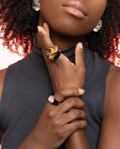 Black Lucite Ring with Silver Leaf on Model 1