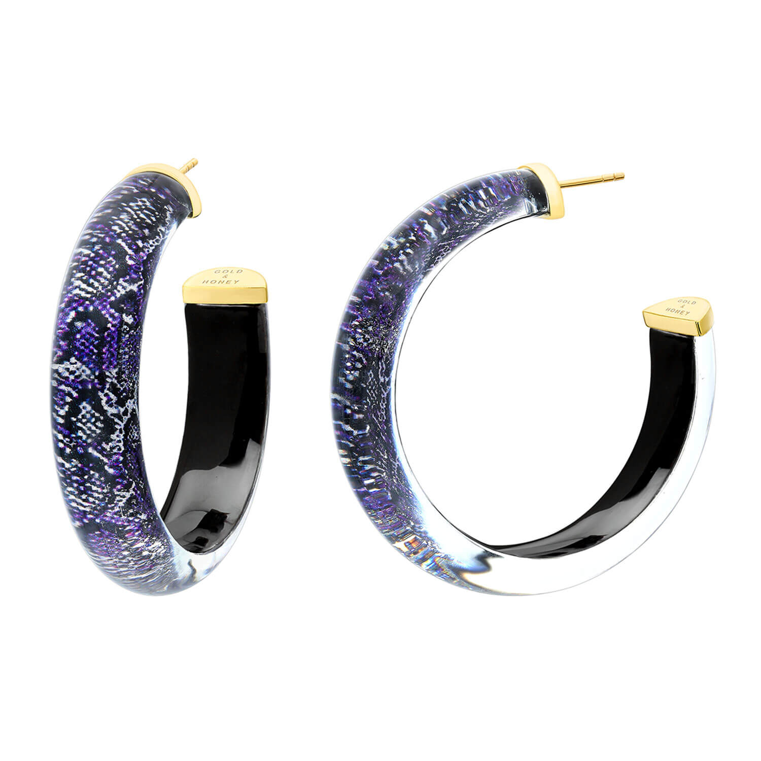 Medium Illusion Lucite Hoops in Snake Skin