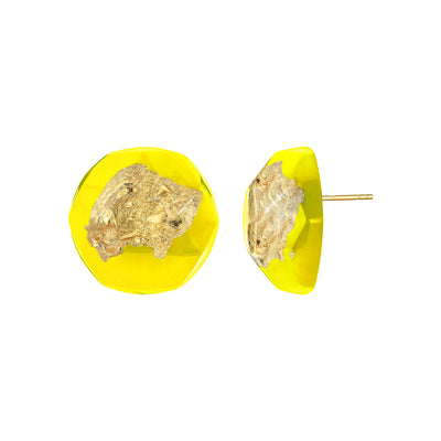 24K Gold Leaf Button Stud Earrings IN YELLOW