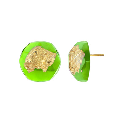 24K Gold Leaf Button Stud Earrings IN GREEN