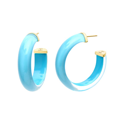 Small Illusion Lucite Hoops in TURQUOISE