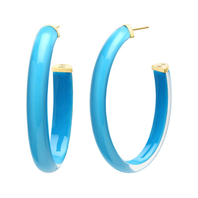 XL Oval Illusion Lucite Hoops in TURQUOISE