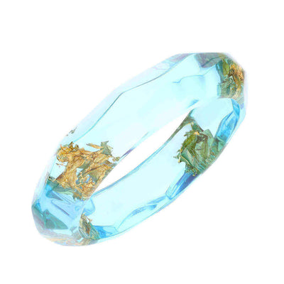 Color Gold Leaf Lucite Bangle - BLUE