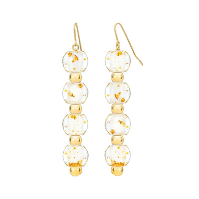 4 Drop Mini Bead Lucite Earrings - GOLD QUARTZ