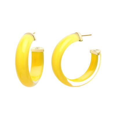 Small Illusion Lucite Hoops in YELLOW
