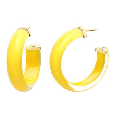 40mm Round Illusion Lucite Hoops - YELLOW