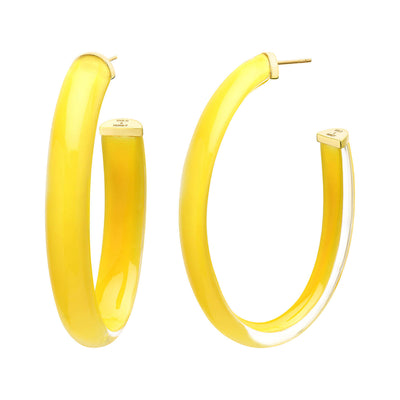 XL Oval Illusion Lucite Hoops in YELLOW