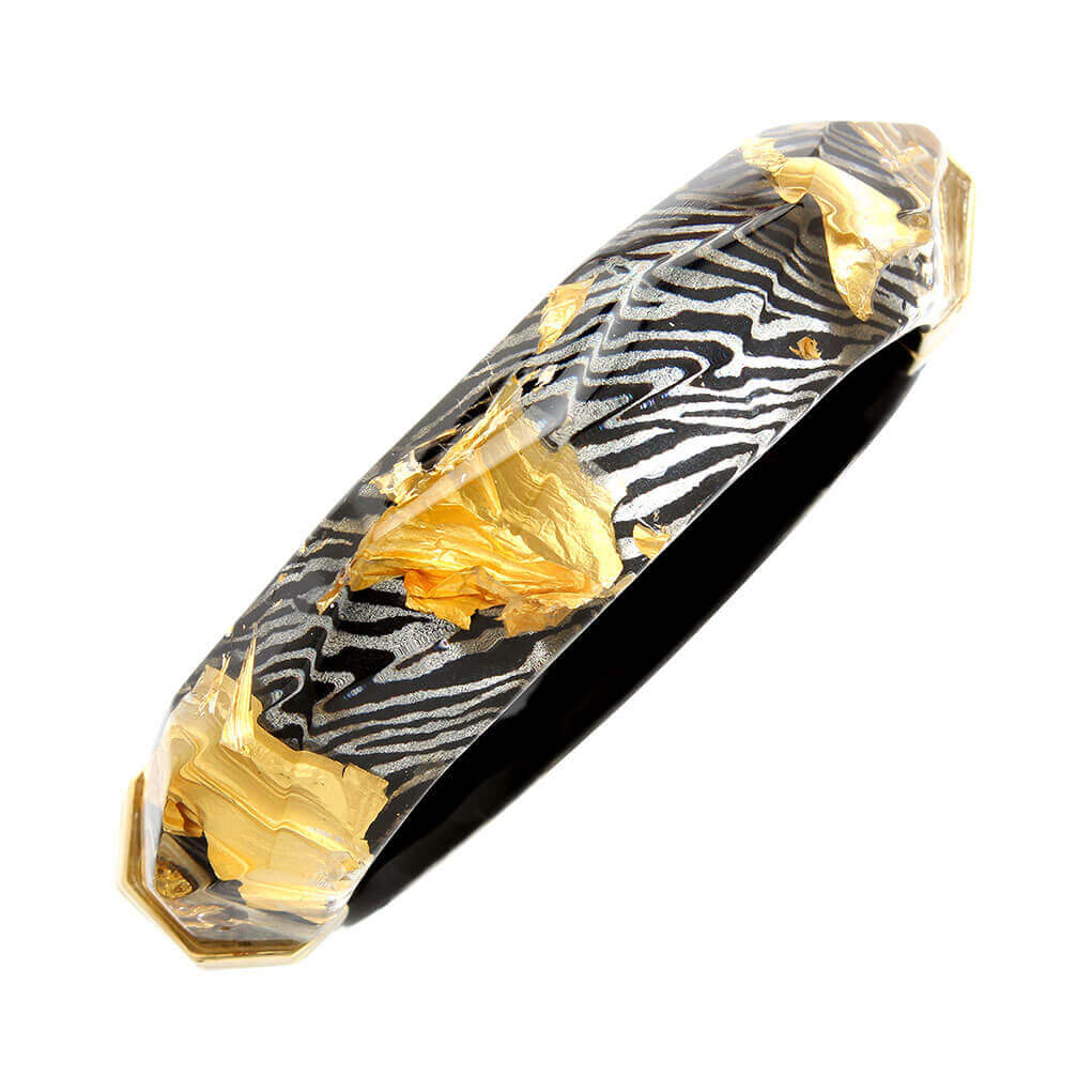 Faceted Lucite Bangle in Zebra