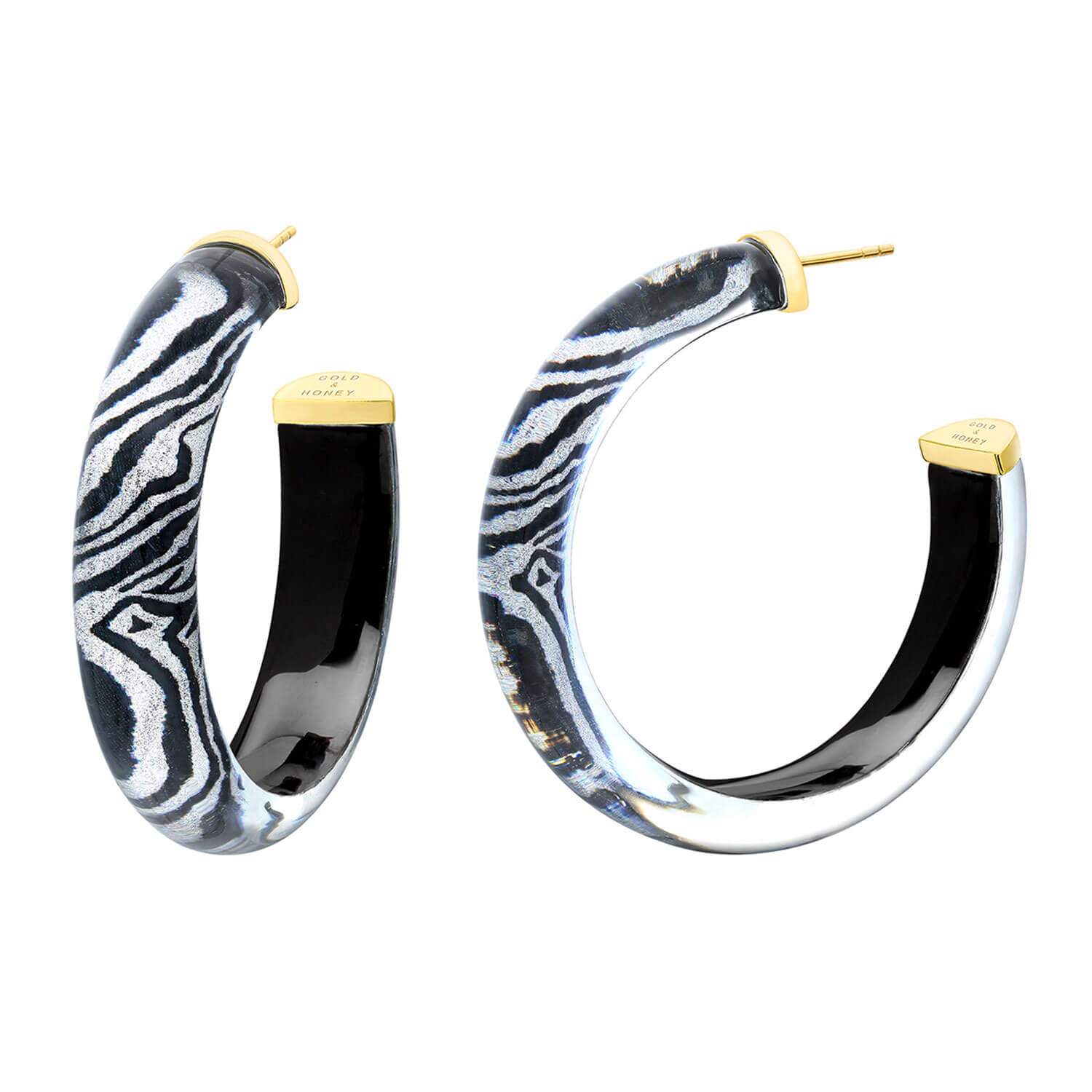 Medium Illusion Lucite Hoops in Zebra