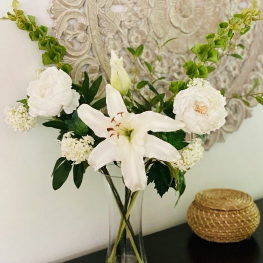 peony and lily arrangement