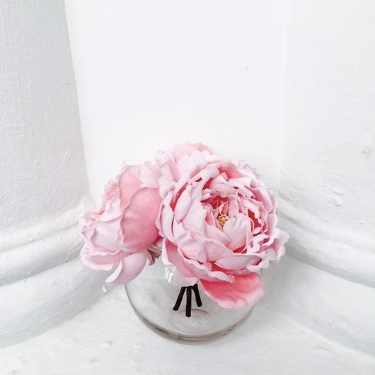 Peonies in Glass Bowl