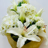 lily and hydrangea bouquet