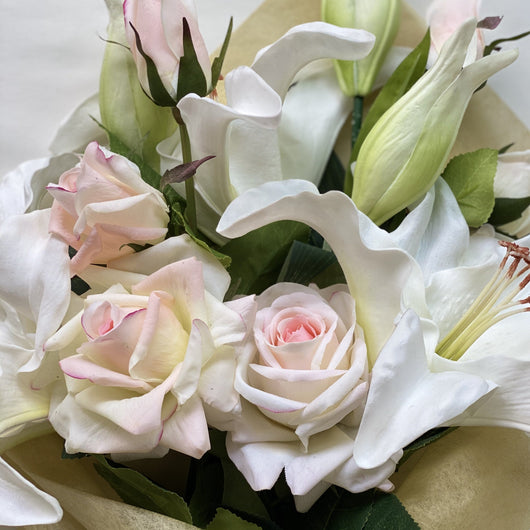silk roses and lilies
