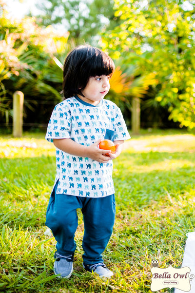 HAPPY, Teal Boy Outfit for Infants & Toddlers