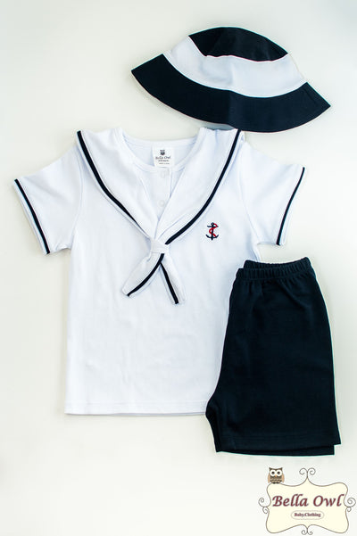 NAUTICAL BOY, Outfit with Hat for Infants & Toddlers