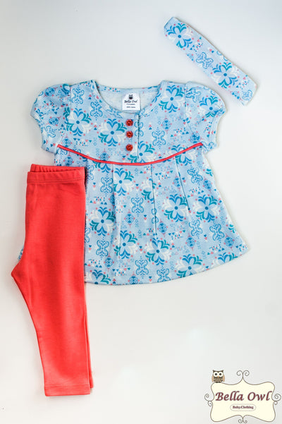 WELCOME SUMMER, Salmon/Blue Girl Outfit with Headband for Infants & Toddlers