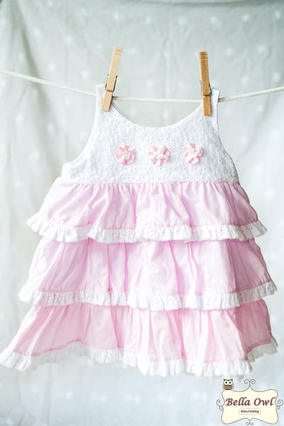 LAYERS, White/Pink Dress for Infants & Toddlers