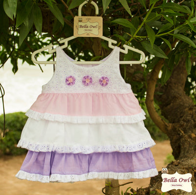 LAYERS, White/Pink/Lavender Dress for Infants & Toddlers