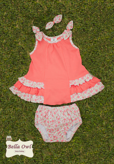 TWIRLING PETALS, Coral Floral Dress for Infants & Toddlers