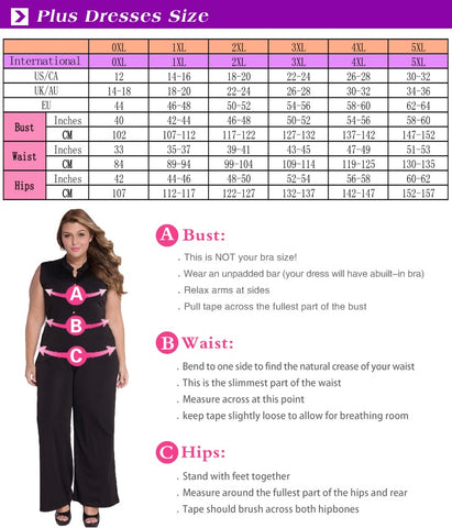 dress plus size chart