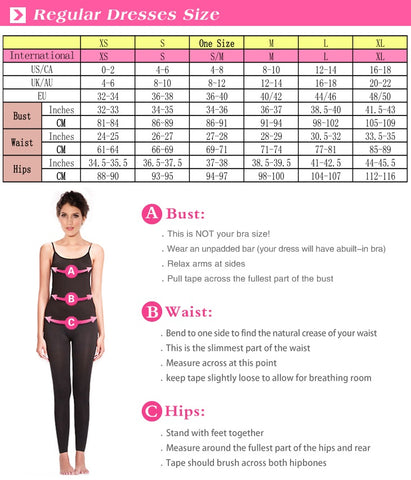 dress reg size chart