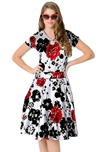 1950s Style Black Red Floral Short Sleeves Swing Dress