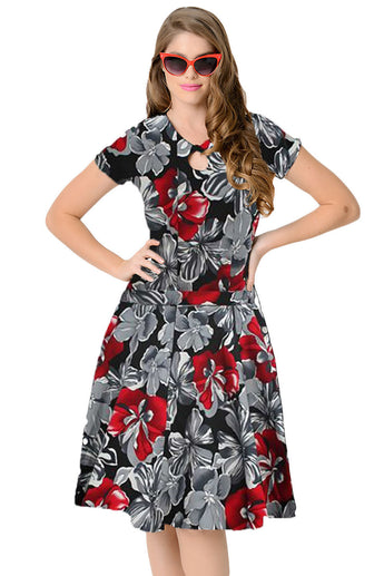 1950s Style Red Monochrome Floral Short Sleeves Swing Dress