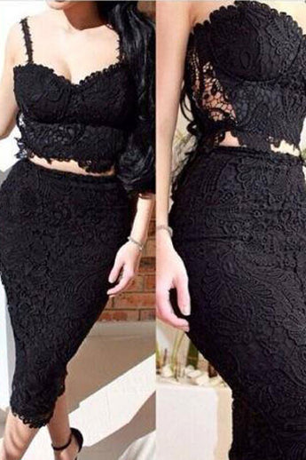 2 Pcs Celeb Lace Lined Bandage Dress in Black