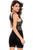 Allover Lace Strappy Fitted Cup Bodycon Dress Black