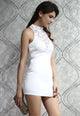 Mock Neck Studs Decoration Dress White
