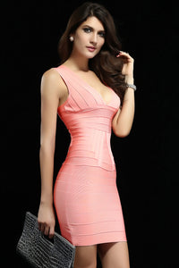 Pink Ribbed V-neck Party Bandage Dress