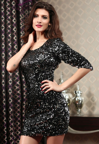 Black Sequined Single 3/4 Sleeve Dress