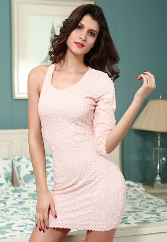 Pink Sequined Single 3/4 Sleeve Dress