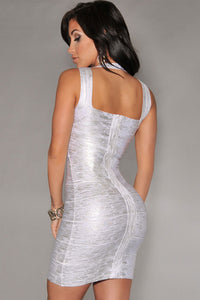 New Fashion Silver Foil Print Bandage Dress Celebrity Style