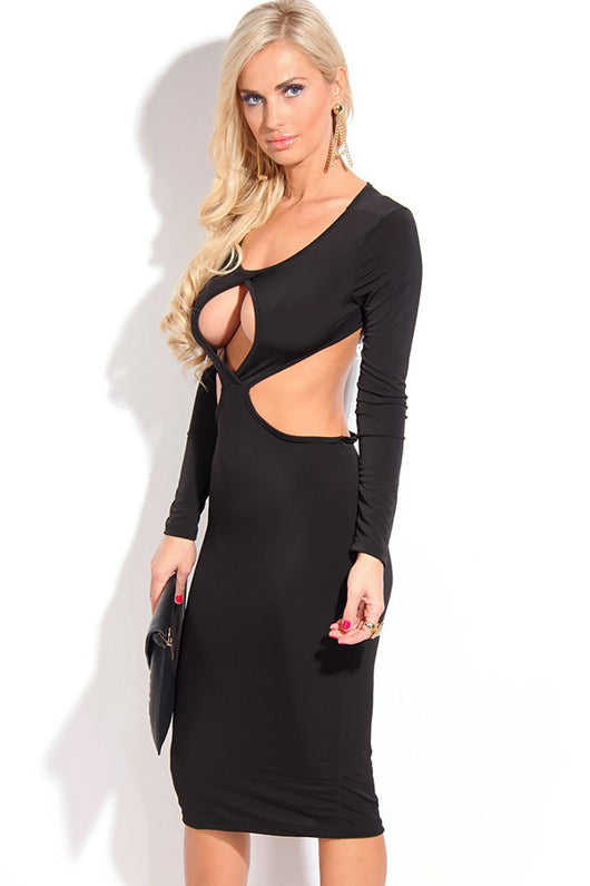Black Sexy Cut-out Bodycon Evening Dress