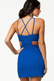 Trendy Blue Cut out Waist Mini Club Dress