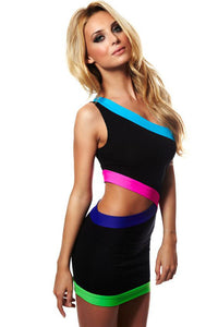 Black Cut out Sexy Club Dress with Neon Trims