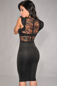 Black Sheer Lace Evening Dress