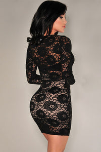 Black Lace Long Sleeves Bodycon Dress