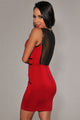 Red Bodycon Drees With Mesh And Faux leather Trim